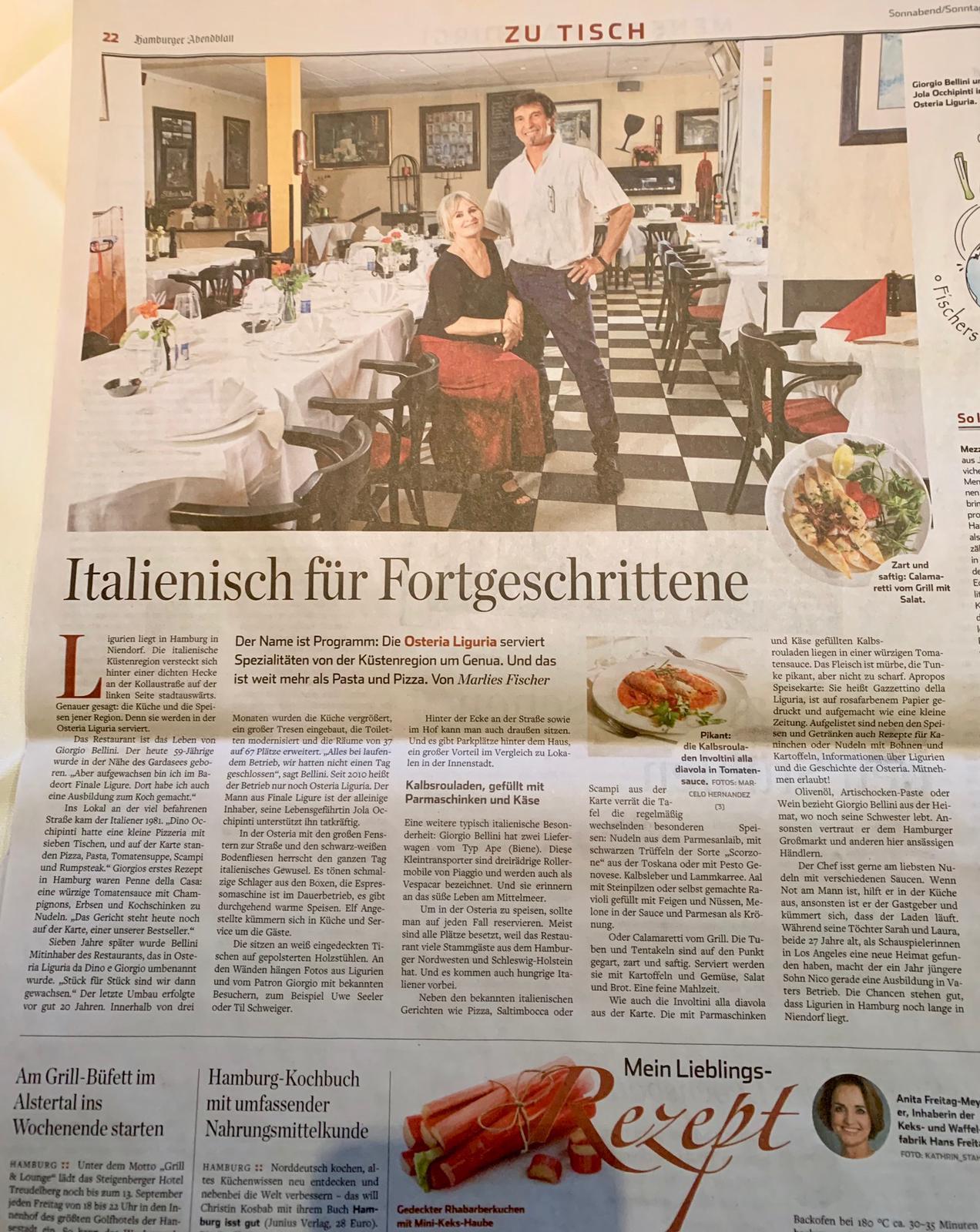 Osteria Liguria im Hamburger Abendblatt